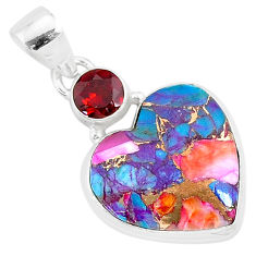 925 silver 14.07cts spiny oyster arizona turquoise red garnet pendant r93464