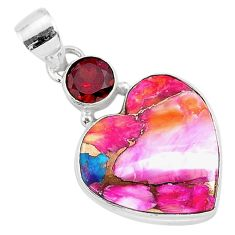 925 silver 13.17cts spiny oyster arizona turquoise red garnet pendant r93480