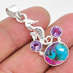 925 silver 7.15cts spiny oyster arizona turquoise seahorse pendant r93293
