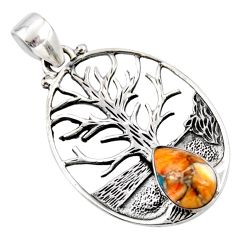 925 silver 4.63cts spiny oyster arizona turquoise tree of life pendant r52991