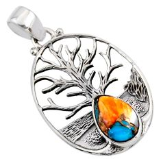 925 silver 4.40cts spiny oyster arizona turquoise tree of life pendant r53015