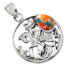 925 silver 4.67cts spiny oyster arizona turquoise unicorn pendant jewelry r52753