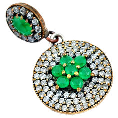 925 silver 6.92cts turkish green emerald (lab) topaz two tone pendant c25776