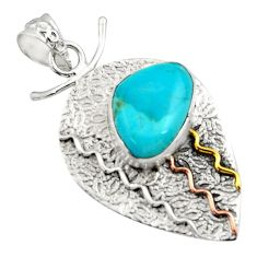 Clearance Sale- 925 silver 6.89cts victorian arizona mohave turquoise two tone pendant d44913