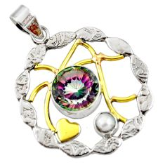 Clearance Sale- 925 silver 7.10cts victorian multi color rainbow topaz two tone pendant d44077