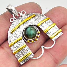 Clearance Sale- 925 silver 3.13cts victorian natural blue labradorite two tone pendant d44055