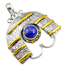 Clearance Sale- 925 silver 4.38cts victorian natural blue lapis lazuli two tone pendant d44044