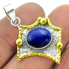 925 silver 5.15cts victorian natural blue lapis lazuli two tone pendant t55709