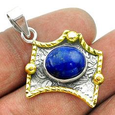 925 silver 5.16cts victorian natural blue lapis lazuli two tone pendant t55712