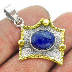 925 silver 5.16cts victorian natural blue lapis lazuli two tone pendant t55737
