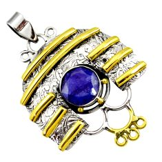 925 silver 5.33cts victorian natural blue sapphire round two tone pendant d44052