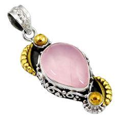 925 silver 12.95cts victorian natural pink rose quartz two tone pendant d44065