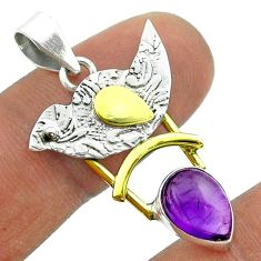 925 silver 2.44cts victorian natural purple amethyst two tone pendant t55809
