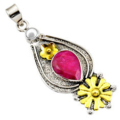 925 silver 7.33cts victorian natural red ruby two tone flower pendant d44031