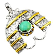925 silver 3.24cts victorian natural turquoise tibetan two tone pendant d44048