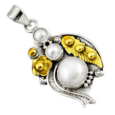 ts victorian natural white pearl round two tone pendant d44073