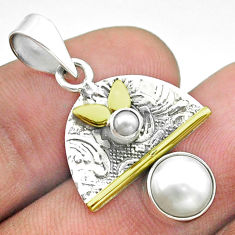 925 silver 3.29cts victorian natural white pearl round two tone pendant t55828