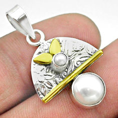 925 silver 2.93cts victorian natural white pearl round two tone pendant t55837
