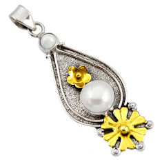 925 silver 6.53cts victorian natural white pearl two tone flower pendant d44024