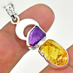 925 silver 11.07cts yellow citrine rough amethyst moon fancy pendant t33631
