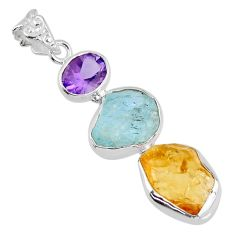 925 silver 14.35cts yellow citrine rough aquamarine rough fancy pendant r56652