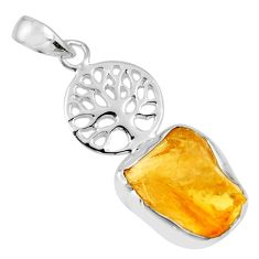 925 silver 7.97cts yellow citrine rough fancy shape tree of life pendant r56803