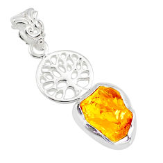 925 silver 5.22cts yellow citrine raw fancy tree of life handmade pendant r80904