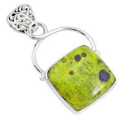 925 silver14.72cts natural green atlantisite stichtite-serpentine pendant r94564