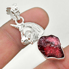 925 sterling silver 9.63ct natural red garnet rough fancy unicorn pendant t30904