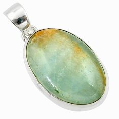 925 sterling silver 16.18cts aquatine lemurian calcite oval pendant r39964