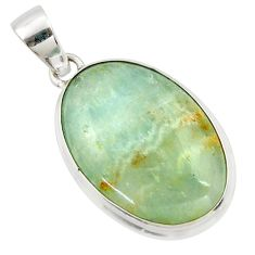 925 sterling silver 17.57cts aquatine lemurian calcite oval pendant r39976
