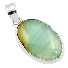 925 sterling silver 16.18cts aquatine lemurian calcite oval pendant r39979
