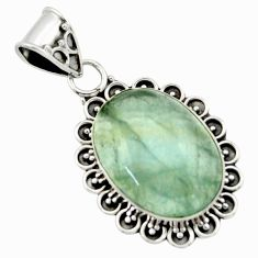 925 sterling silver 13.53cts aquatine lemurian calcite oval pendant r40211