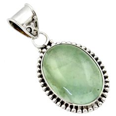 925 sterling silver 13.87cts aquatine lemurian calcite oval pendant r40224
