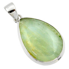 925 sterling silver 18.15cts aquatine lemurian calcite pear pendant r39967