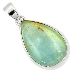 925 sterling silver 15.65cts aquatine lemurian calcite pear pendant r39969
