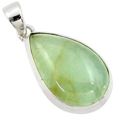 925 sterling silver 18.15cts aquatine lemurian calcite pear pendant r39973
