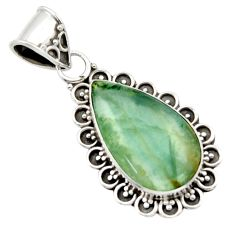 925 sterling silver 11.62cts aquatine lemurian calcite pear pendant r40204