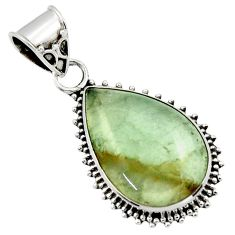925 sterling silver 14.05cts aquatine lemurian calcite pear pendant r40233