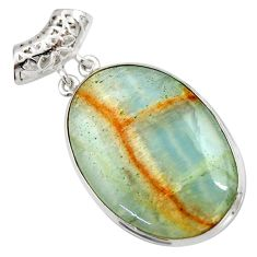 925 sterling silver 31.44cts aquatine lemurian calcite pendant jewelry d42037
