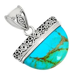 925 sterling silver 13.87cts blue arizona mohave turquoise fancy pendant r85030