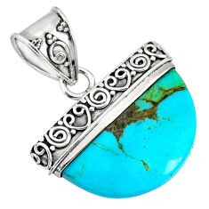 925 sterling silver 12.05cts blue arizona mohave turquoise fancy pendant r85037