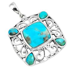 925 sterling silver 6.53cts blue arizona mohave turquoise pendant jewelry c10783