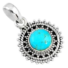 925 sterling silver 2.96cts blue arizona mohave turquoise pendant jewelry r58086