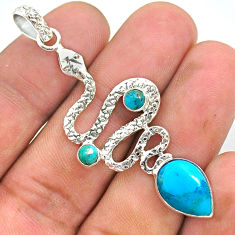 925 sterling silver 6.31cts blue arizona mohave turquoise snake pendant t35534