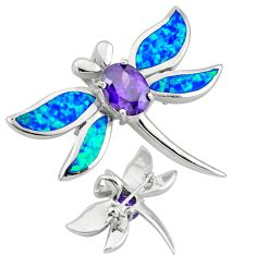 925 sterling silver blue australian opal (lab) brooch pendant jewelry c17180
