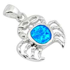 925 sterling silver blue australian opal (lab) crab pendant a74235 c24446
