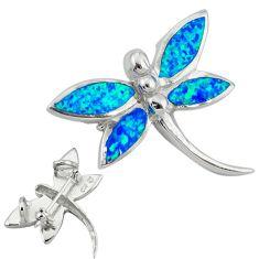 925 sterling silver blue australian opal (lab) dragonfly pendant c15713