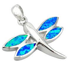 925 sterling silver blue australian opal (lab) dragonfly pendant jewelry c15692