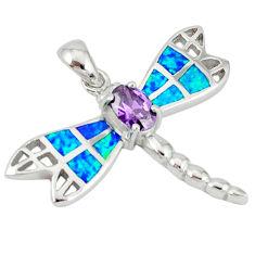 925 sterling silver blue australian opal (lab) dragonfly pendant a36687 c15298